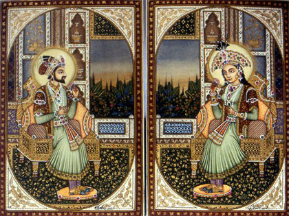 'Mugahl emperor Shah Jahan and his empress Mumtaz Mahal' by Unknown. CC BY-SA 3.0, via Wikimedia Commons.