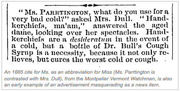 A Rare Occurrence Of Ms In 1885 Suggests That The Term Is An Abbreviation Miss