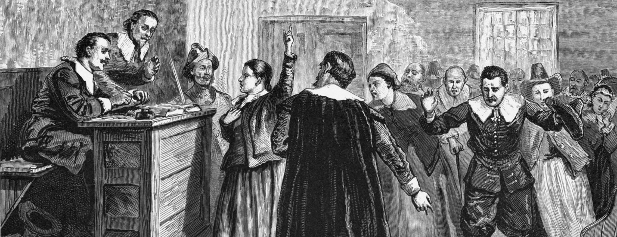drawing of salem witch trials occurring in a court room