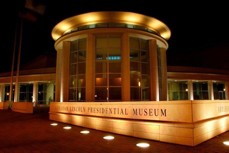 """Photo of the Abraham Lincoln Presidential Library. """"Museum Night (2)"""" photo by Hannah Ross. Used with permission."""