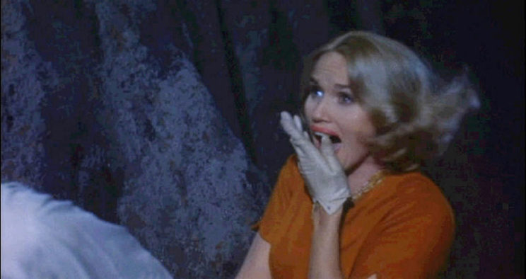 Figure 2: The heroine Eve Kendall cries out when she sees the villainous henchman Leonard in North by Northwest.