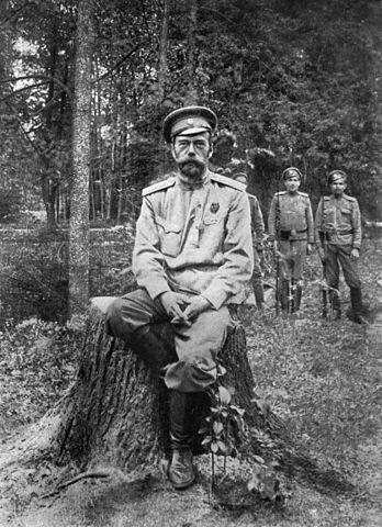 Photograph of Tsar Nicholas II after his abdication, March 1917. Public domain via Wikimedia Commons.